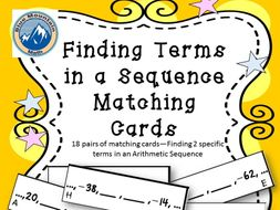 Finding Missing Terms in Arithmetic Sequence Matching Card Set