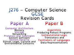 J276 - Computer Science GCSE - Revision Cards