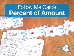 Percentage of Amount Follow Me Cards - A game for finding percentages