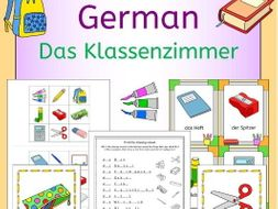 German Classroom - Das Klassenzimmer vocabulary activities, puzzles and games