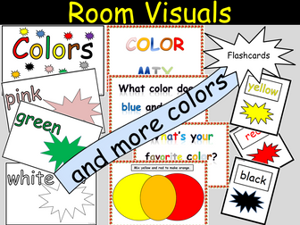 Room Visuals - Colors for display/What colors are when mixed, Flashcards colors, Activity worksheets