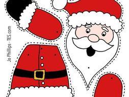 Christmas - Colour, cut, pin and play - 6 designs - PRECOLOURED & BLANK Xmas split pin activitity