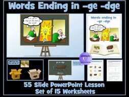 dge / ge Words:  PowerPoint Lesson and Worksheets