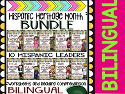 Hispanic Heritage Month - Bundle 2 - Worksheets and Readings (Bilingual)