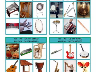 Musical Instruments Tic-Tac-Toe or Bingo