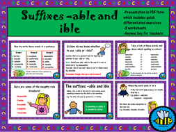 Suffixes -able and -ible worksheets and presentation