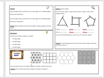 Angles in polygons investigation