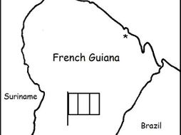 FRENCH GUIANA - printable handout with map and flag