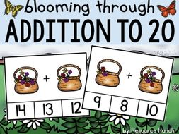 """Addition Clip Cards """"Blooming through Addition to 20"""""""