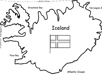 ICELAND - Printable handout with simple map and flag