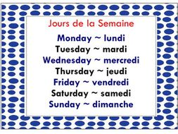 French days and months Add me to your lesson plans