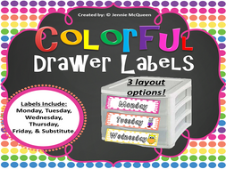 Days of the Week Labels: Colorful!