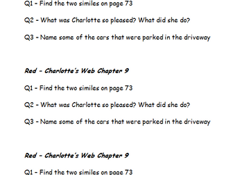 Charlotte's Web - 14 question sets for Comprehension