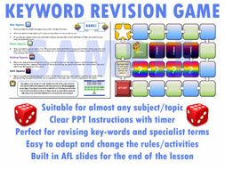 Key Word Revision Board Game (Template, PPT, AfL) [Revision Activity for any Subject] (A4)