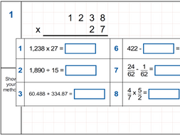 Arithmetic Revision/Practice 5 Full Tests - 36 questions each (Set A)