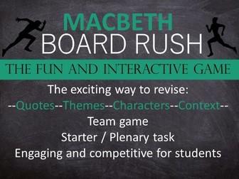 Macbeth Board Rush Game - Revision - Starter - Plenary