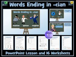 cian suffix  -  PowerPoint Lesson and Worksheets