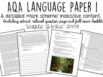 AQA English Language Paper 1 WITH INDICATIVE CONTENT:  'Eagle Strike'