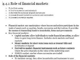 Edexcel A-level Economics Unit 4.4 The Financial Sector