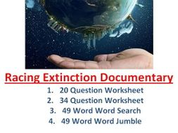 Racing Extinction Video Two Worksheets, Word Jumble, Word Search