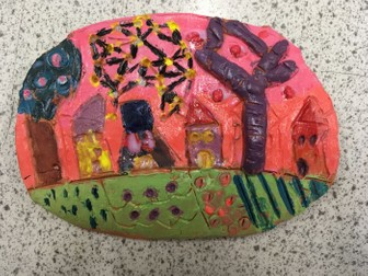 Clay relief Friedensreich Hundertwasser design clay relief KS3