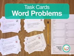 Mixed Math Word Problems | Task Cards | 24 Questions 4 Differentiations 96 Cards