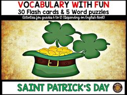 Saint Patrick's Day: 5 Different Word puzzles and 30 Photo flash cards (ESL, ESL, ELL)