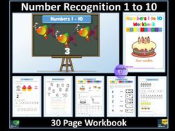 Number Recognition to 10: Workbook - 32  Pages