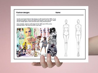 Textiles cover work / cover lesson - Fashion designs 1960's - 1980's