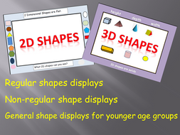 Room Visuals: 2D  Regular/Non-regular shapes, 3D Shapes Displays/Posters, flashcards