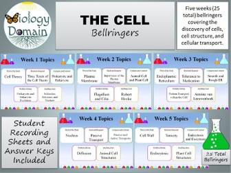Five weeks of The Cell Bellringers Warm Ups with Answer Key