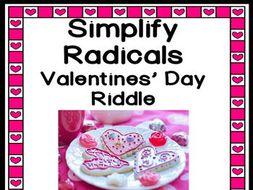 Simplifying Radicals Valentines Riddle