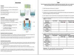 Electrolysis comprehension task