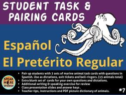 Spanish -  Student Task and Pairing Cards for Regular Preterite Verbs - Verbos en español