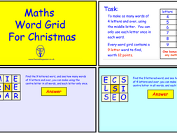 Maths Word Grid for Christmas (ppt version)