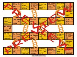 Prepositions of Movement with Text Chutes and Ladders Board Game