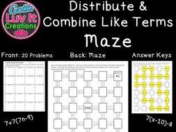 Distribute & Combine Like Terms - 2 Mazes