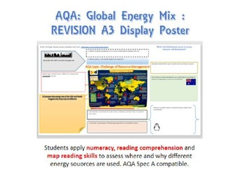 Geography GCSE Global energy mix A3 revision poster