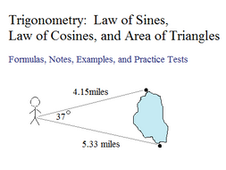 Trigonometry Law Of Sines Law Of Cosines And Area Of Triangles By