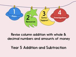 Revise column addition with whole & decimal numbers and amounts of money (Year 5 Addition and Subtraction)