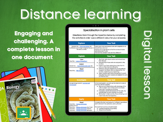 SB1.5 Specialisation in plant cells Distance learning (AQA GCSE Bio)