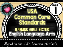Grade 1 - USA ELA Common Core Standards - Editable Learning Goals Posters