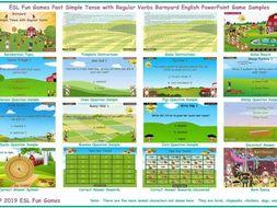 Past Simple Tense with Regular Verbs Barnyard English PowerPoint Game