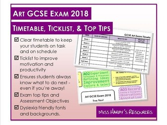 GCSE Art Exam 2018 Timetable, Ticklist, and Top Tips!