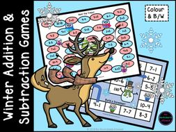 Maths Addition Games and Subtraction Games with a Winter Theme