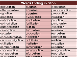Suffix Word Mat for ation - Year 3 & 4 Spelling