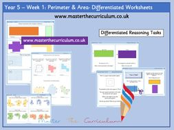 Year 5-Autumn- Block 5- Area and Perimeter Differentiated Worksheets- White Rose Style - Week 1