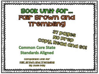 Fair, Brown and Trembling -- Cinderella Book Unit -- Common Core State Standards Aligned