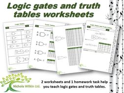Logic gates and truth tables worksheet pack