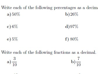 Percentages, fractions and decimals worksheet (with solutions)